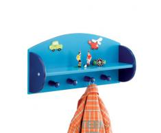 Zeller 13478 Boys - Estante con perchero infantil de tablero DM (48 x 12 x 23,5 cm), color azul