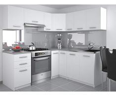 Muebles Cocina Completa, 300 cms, Modulos de cocinas ref-15 (Blanco)