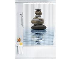 WENKO 20961100 Cortina de ducha Meditation - tejido textil de alta calidad, lavable, Poliéster, 180 x 200 cm, Multicolor