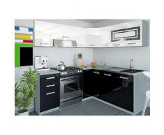 JUSThome Lidja L-Cocina completa 190x170 cm Color: Negro / Blanco Brillante
