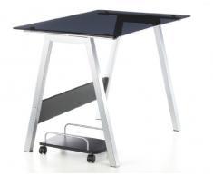 HJH Office 673925 DELPHI - Mesa de ordenador DELPHI vidrio negro/plateado