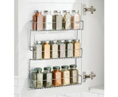 mDesign Especiero de cocina autoadhesivo AFFIXX - Estanterías metálicas para especias con tres estantes - Práctico organizador de especias de color plateado - Metal