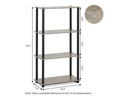 Furinno Turn-n-Tube 4-Tier Estante Multiusos Pantalla Rack 99557Â GYW/BK