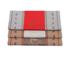 ZOLLNER Set de 3 Trapos de Cocina de algodón, 50x70 cm, Colores Variados (marrón, Rojo y Gris Claro)