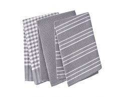 Paños de cocina, 100% algodón, de tejido de lino, diseño vintage, se pueden utilizar como plato de té toallas/trapo de cocina, 3 unidades, en gran tamaño 45 x 65 cm, 100% algodón, Gris, 45x65cm