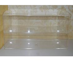 Mercancías Soporte/präsenter/mesa vitrina/Holzhäuser/pastelería mostrador Modular de vidrio acrílico grande, Vidrio, transparente, 2 Tier: 49 (B) x 28 (H) x 24 (T)