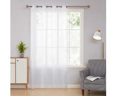 Deconovo Cortina Visillo Transparente para Salón y Cocina 140 x 180 cm 1 Pieza Blanco