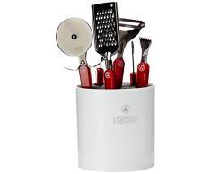 Laguiole Evolution 448261 - Bloque con utensilios de cocina (mango de carbono y acero inoxidable, 12 x 12 x 26 cm, 6 piezas), color negro