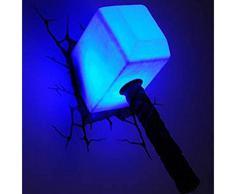 Lámpara Mesita Noche Tor Martillo 3D Pared Arte Deco