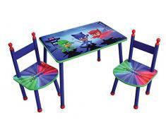 Fun House pyjamasques Mesa con 2 sillas para niños, MDF/Metal, 60 x 40 x 44 cm