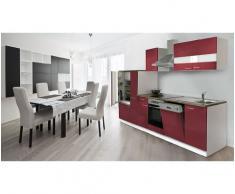respekta KB310WRC - Bloque de Cocina (imitación Nogal, 310 cm), Color Blanco y Rojo