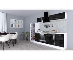 respekta Cocina Pequeña Cocina Bloque de Cocina Cocina Amueblada y Equipada Alto Brillo 280cm Blanco - Negro, 280 cm