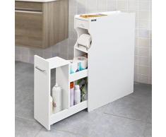 SoBuy® Estanteria para nichos,Gabinete de almacenamiento con ruedas WC, Sostenedor de papel higiénico, Blanco, FRG50-W, ES