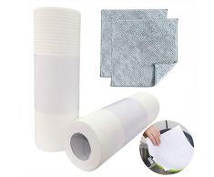 KAARI 2 PCS 50 Hojas de Cocina Reutilizable Toalla de Papel Ecológica, Toalla de Papel de Cocina Multipropósito, Lavable