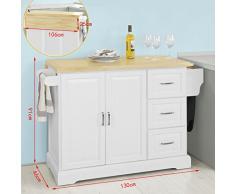 SoBuy Carrito de Cocina, Estantería de Cocina, Aparador con Ruedas, H91cm x L106cm x P46,Blanco,FKW41-WN,ES