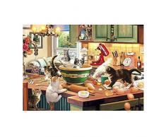 Twuky 5D DIY Perforación completa de la pintura del diamante, por el número de kits de artesanía y punto de cruz de costura, pegatinas de pared para la decoración de la sala de estar,Colección de gatos: alcaparras de cocina