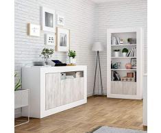 Habitdesign 036628A - Mueble aparador, Buffet Modelo Baltik, Acabado en Color Blanco Artik y Blanco Velho, Medidas: 144 cm (Ancho) x 87 cm (Alto) x 42 cm (Fondo)