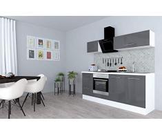 respekta Cocina Pequeña Cocina Bloque de Cocina Cocina Amueblada y Equipada Alto Brillo 210cm Blanco - Gris, 210 cm