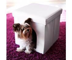 Relaxdays – Asiento con casa para Mascotas Hecho de Cuero Artificial con Medidas 38 x 38 x 38 cm Peso 2.5 Kg Banco Taburete reposapies, Color Blanco