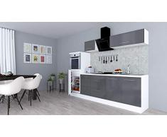 respekta Cocina Pequeña Cocina Bloque de Cocina Cocina Amueblada y Equipada Alto Brillo 270cm Blanco - Gris, 270 cm