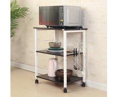 soges Estante para Máquina de Café de Microondas de 3 Gradas Almacenamiento para Cocina Gabinete Estante para Cocina con Carrito de Servicio,W4-BK-N