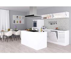 respekta Isla de Cocina Cocina Pequeña Cocina Bloque de Cocina Cocina Amueblada y Equipada Alto Brillo 310cm Blanco - Blanco, 310 cm
