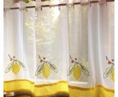 Just Contempo - Juego de cortinas para cocina (117 x 107 cm), diseño de limones, color blanco y amarillo, poliéster, verde/amarillo, 152 x 61 cm