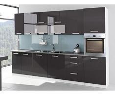 Cocina completa lacado brillante 3 M20 Tara gris con columna horno y plan de trabajo