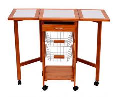 mesa auxiliar cocina xx cm plegable ruedas cajon cestas carrito servicio pino metal