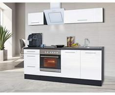 respekta Cocina Pequeña Cocina Bloque de Cocina Cocina Amueblada y Equipada Alto Brillo 210 cm Roble - Blanco, 210 cm