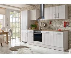 respekta Cocina Cocina Pequeña Bloque de Cocina Cocina Cocina Amueblada y Equipada Cocina Totalmente Equipada 280 cm en Blanco