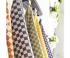 Lumaland Paños de Cocina Serie Capri en Diez Colores.10 Piezas por Juego.100% algodón. 46 x 70 cm Violeta - Blanco