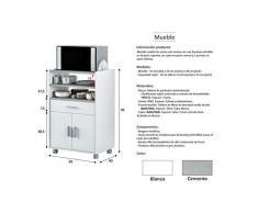 HABITMOBEL Mueble Modulo para Cocina aparador Estilo Moderno 59x40x92 cm (con Ganchos para Trapos)