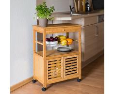 Relaxdays James isla carrito de cocina con cajón, de bambú con ruedas carrito de cocina de madera con bandeja grande y cesta de almacenamiento con ruedas carro con puertas, 80 x 60 x 35 cm, XL, natural