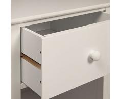 Woodluv cabecera pecho con cajón y estante del gabinete unidad de almacenamiento de tabla, 38 x 44 x 58 cm, blanca