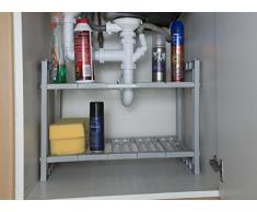 Estante extensible debajo del fregadero de almacenamiento con 2 baldas – con único extraíble estantes para tuberías
