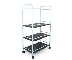 Carro de almacenamiento de malla de metal con ruedas de bloqueo para oficina en casa, cocina, 60 cm de largo x 32 cm de ancho x 100 cm de alto. negro