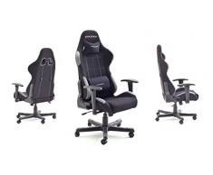 DX Racer 5 Robas Lund, - Silla de escritorio/oficina/ gaming, Negro/Gris, 74 x 52 x 123-132 cm, madera, con ruedas, altura ajustable, tapizada, reposabrazos