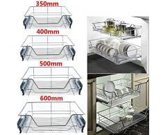 Cajón de cocina telescópico cromado, extensión completa, cajón de taller con estante para armario de 500 mm, 16,4 x 17,3 x 5,3 pulgadas