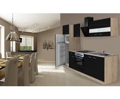 respekta Cocina Completa, 270 cm, Roble, Incluye Nevera, congelador y vitrocerámica, Color Negro