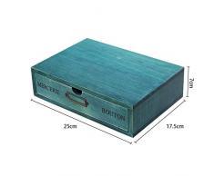 Cajones de Almacenamiento de Madera Retro, Aesy Gabinete de Escritorio para la Joyería Organización Cosmética 1/2 / 3-Capa Cajones (1 Cajónes, Azul)