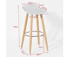 SoBuy® Taburete de bar con patas de madera de haya natural, asiento en color Blanco, FST35-W, ES
