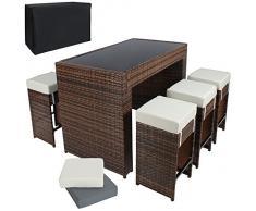 TecTake Poliratán Aluminio Conjunto Barra de Bar y 6 taburetes para jardin de Ratán + Set de fundas intercambiables + Funda completa, tornillos de acero inoxidable marrón