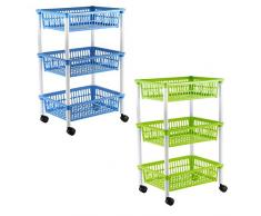 Axentia 235099 - Carrito con 3 cestas de almacenamiento, Multicolor