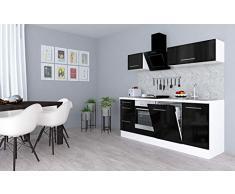respekta Cocina Pequeña Cocina Bloque de Cocina Cocina Amueblada y Equipada Alto Brillo 220cm Blanco - Negro, 220 cm