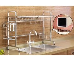 WINZSC Fregadero de acero inoxidable 304, estante para platos, rejilla de agua, estante de cocina, 2 capas de suministros, tanques de almacenamiento de agua, platos y estantes WX4241410 (Color : A)