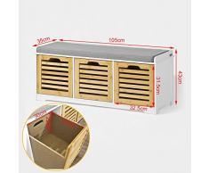 SoBuy® Banco de almacenamiento con acolchados cojines y 3 cubos, entrada zapato gabinete Dresser cómodo banco FSR23-WN, ES