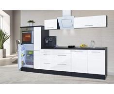 respekta Cocina Pequeña Cocina Bloque de Cocina Cocina Amueblada y Equipada Alto Brillo 310 cm Roble - Blanco, 280 cm