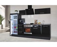 respekta Cocina Pequeña Cocina Bloque de Cocina Cocina Amueblada y Equipada Alto Brillo 280 cm Roble - Negro, 280 cm