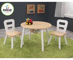 KidKraft 27027- Mesa de madera redonda natural y blanca con 2 sillas, para sala de juegos para niños / muebles de dormitorio , Color Natural y Blanco